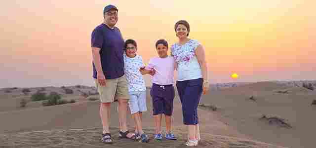 Sunrise Desert Safari Dubai with happy family