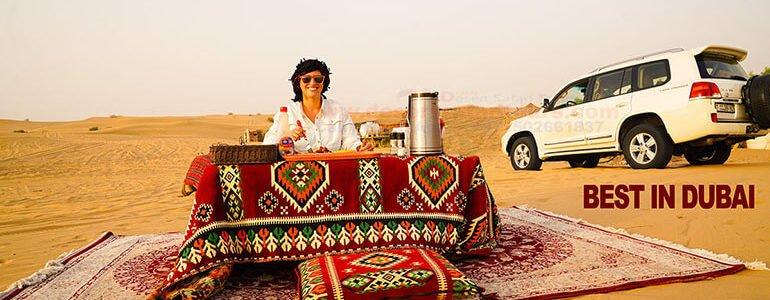 having dune breakfast in sunrise desert safari dubai