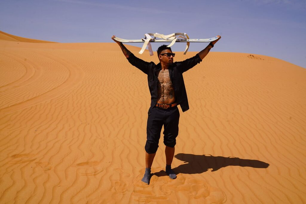 the great Dubai Desert Safari sand boarding experience